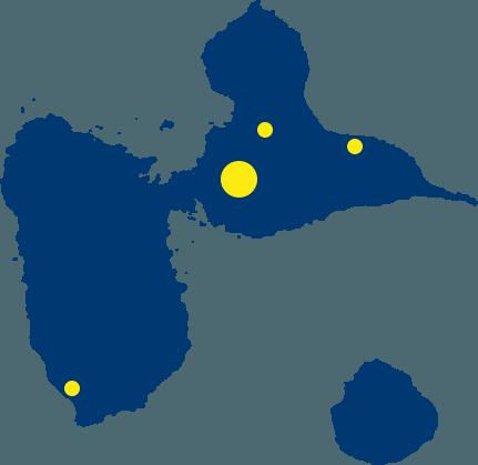Carte de la Guadeloupe Assurance Ourtemer